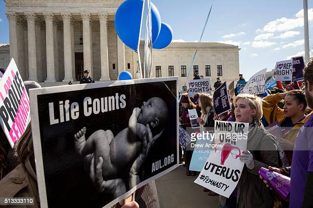 Prochoice advocates and antiabortion advocates rally outside of the Supreme Court March 2 2016 in Washington DC On Wednesday morning the Supreme...