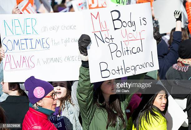 Prochoice and prolife protesters rally outside of the US Supreme Court during the hearing of the Whole Woman's Health v Cole case on Wednesday March...