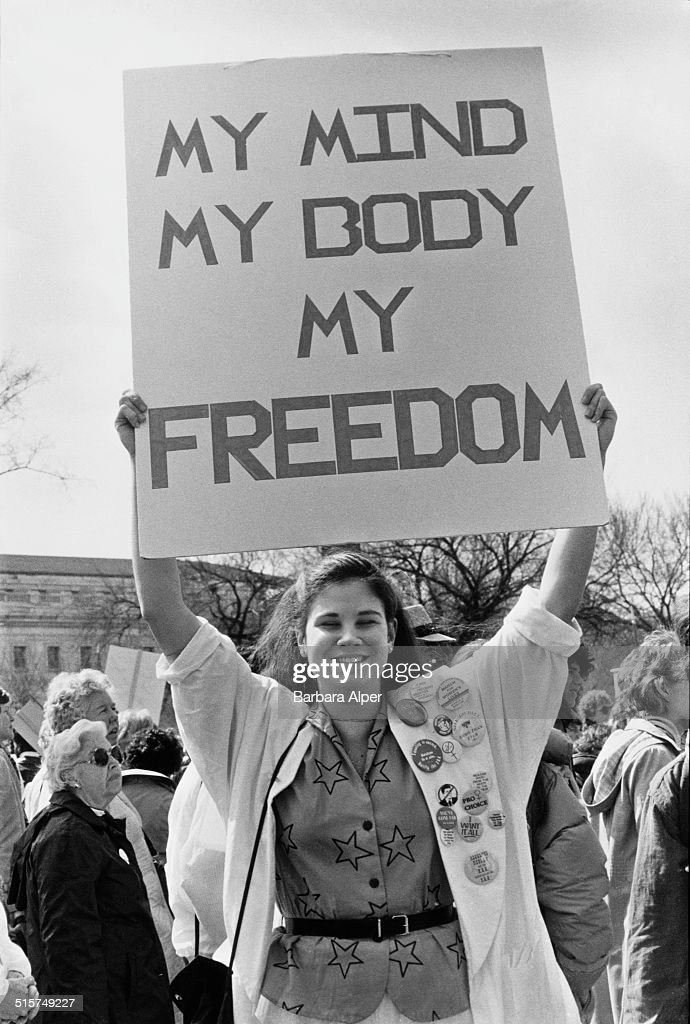 Pro-choice campaigners at a National March For Women's Lives in Washington DC, 9th March 1986.