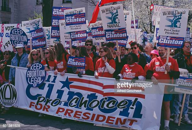 A prochoice march in Washington DC showing strong support for presidential candidate Bill Clinton 4th May 1992