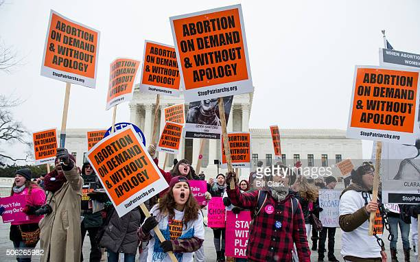Prochoice protesters shout across the street to Prolife protesters in front of the US Supreme Court on the anniversary of Roe v Wade Friday Jan 22...