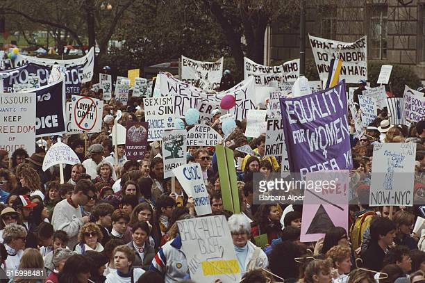 ProChoice supporters take part in a March for Women's Equality in Washington DC 9th April 1989