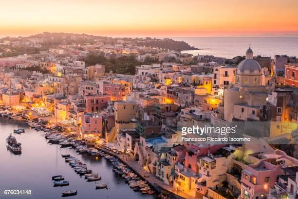 Procida, Naples. Sunset over La Corricella Harbour