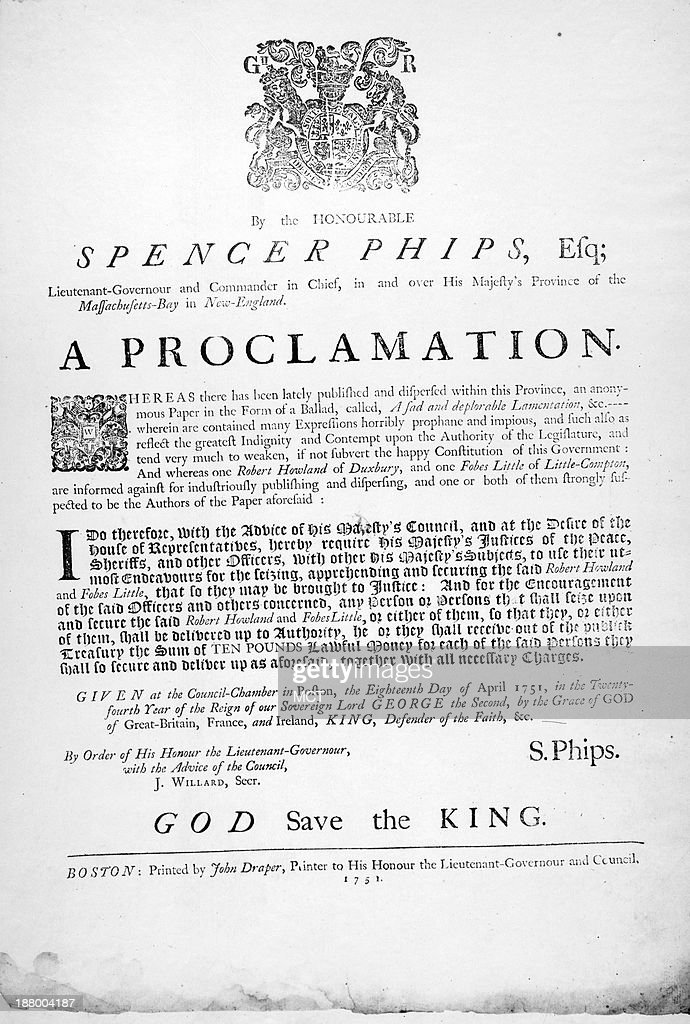 Proclamation from Lt Gov Spencer Phips of Massachusetts Bay in New England published in 1755 declaring a bounty for scalps and prisoners against the...