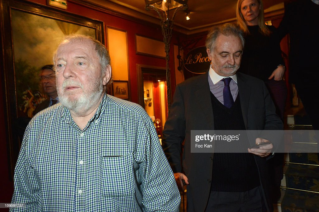 'Procope des Lumieres 2013' recipient writer Clement Rosset (for his book 'L' Invisible' from Minuit Editions) and <a gi-track='captionPersonalityLinkClicked' href=/galleries/search?phrase=Jacques+Attali&family=editorial&specificpeople=878178 ng-click='$event.stopPropagation()'>Jacques Attali</a> attend the 'Procope Des Lumieres 2013 ' Literary Awards Ceremony at Le Procope on January 16, 2013 in Paris, France.