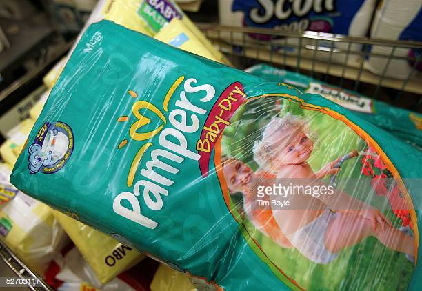 Procter Gamblebrand Pampers diapers sit in a shopping cart in a grocery store April 27 2005 in Chicago Illinois The price of diapers is set to rise...