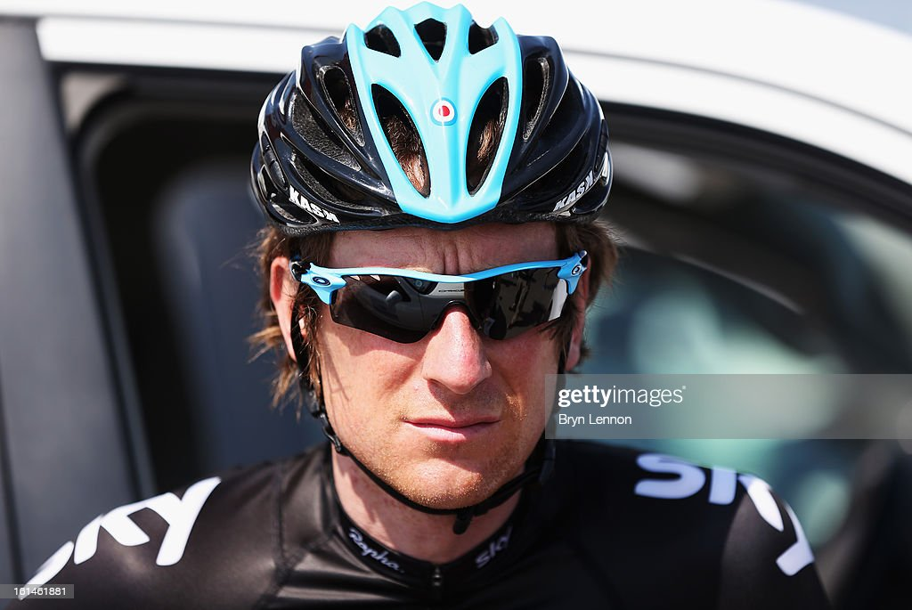 SKY Procycling rider Sir Bradley Wiggins of Great Britain looks on at the start of stage one of the 2013 Tour of Oman from Al Musannah to Sultan Qaboos University on February 11, 2013 in Al Musannah, Oman.