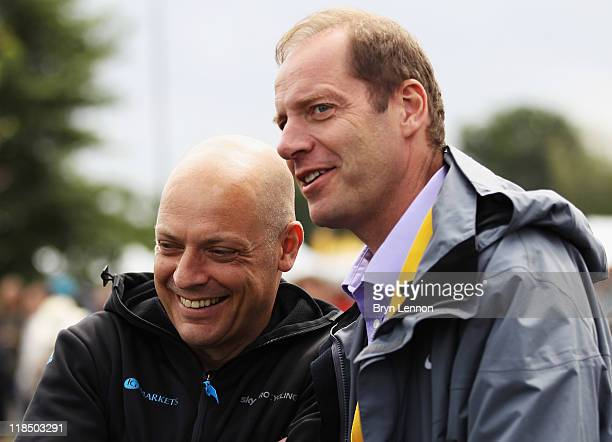 Procycling Team Principle Dave Brailsford chats to Tour de France Director Christian Prudhomme at the start of stage seven of the 2011 Tour de France...