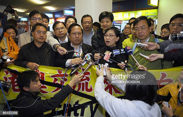Prodemocracy activists hold a press conference in Macau after 5 members of their delegation were refused entry into Macau on March 15 2009 Five...