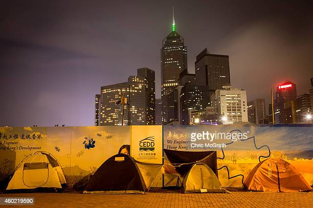 Prodemocracy activists tents are seen on the road outside Hong Kong's Government Complex on December 9 2014 in Hong Kong After more than two months...