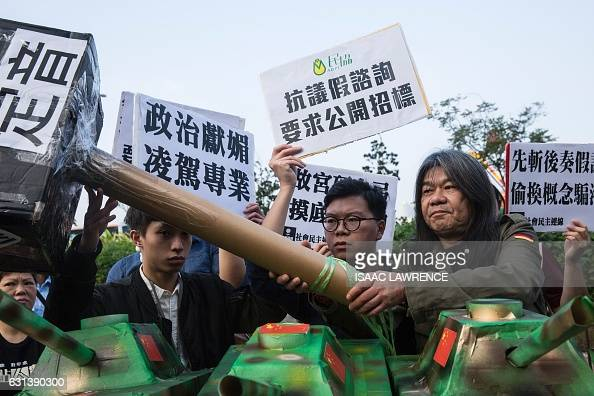 Prodemocracy lawmaker Leung Kwokhung known as Long Hair protests against the public consultation process of The Hong Kong Palace Museum in Hong Kong...
