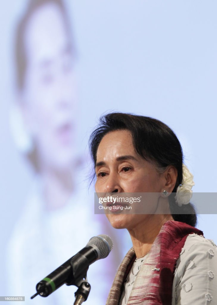 Pro-democracy leader <a gi-track='captionPersonalityLinkClicked' href=/galleries/search?phrase=Aung+San+Suu+Kyi&family=editorial&specificpeople=214208 ng-click='$event.stopPropagation()'>Aung San Suu Kyi</a> attends Global Development Summit on the sideline of the Pyeongchang Special Olympic on January 30, 2013 in Pyeongchang-gun, South Korea. <a gi-track='captionPersonalityLinkClicked' href=/galleries/search?phrase=Aung+San+Suu+Kyi&family=editorial&specificpeople=214208 ng-click='$event.stopPropagation()'>Aung San Suu Kyi</a>, Myanmar's opposition leader and Nobel Peace Prize laureate is on a 5-day tour to South Korea.