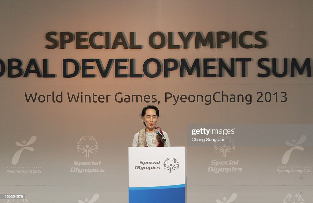 Pro-democracy leader Aung San Suu Kyi attends Global Development Summit on the sideline of the Pyeongchang Special Olympic on January 30, 2013 in Pyeongchang-gun, South Korea. Aung San Suu Kyi, Myanmar's opposition leader and Nobel Peace Prize laureate is on a 5-day tour to South Korea.