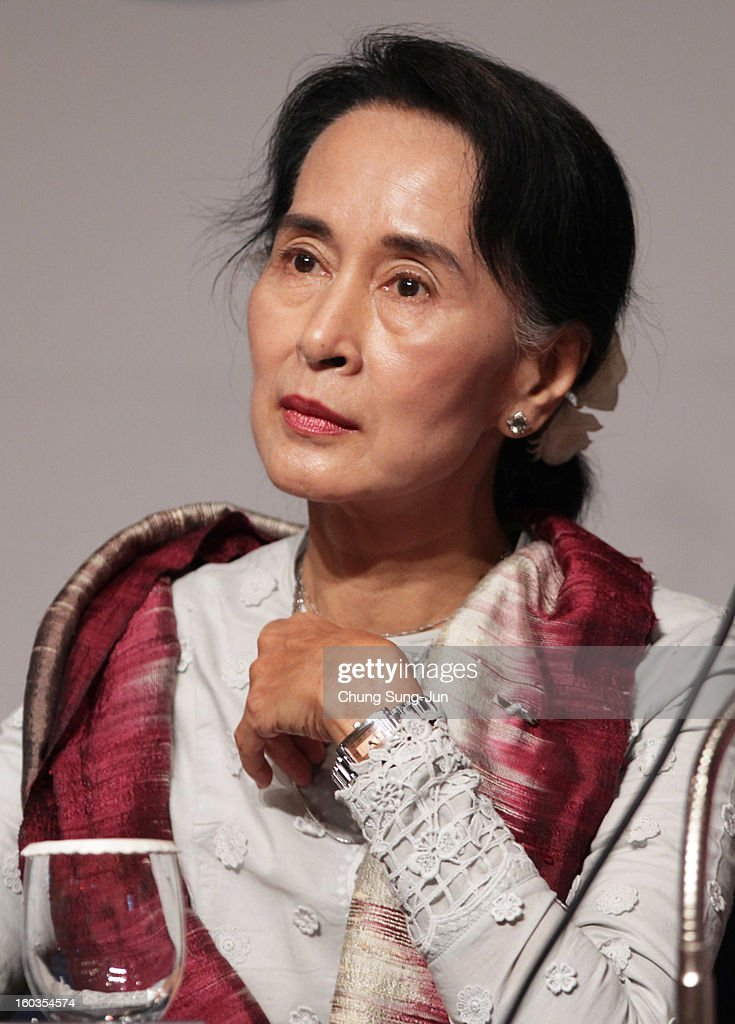 Pro-democracy leader Aung San Suu Kyi attends press conference during the Pyeongchang Special Olympic on January 30, 2013 in Pyeongchang-gun, South Korea. Aung San Suu Kyi, Myanmar's opposition leader and Nobel Peace Prize laureate is on a 5-day tour to South Korea.