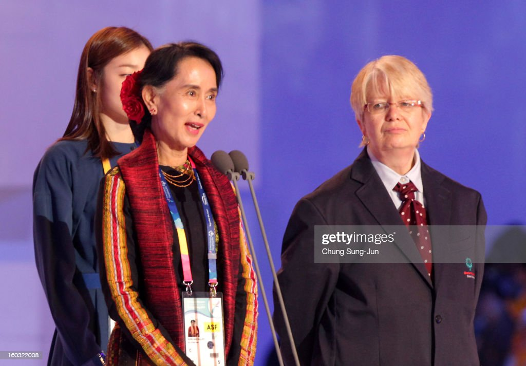 Pro-democracy leader <a gi-track='captionPersonalityLinkClicked' href=/galleries/search?phrase=Aung+San+Suu+Kyi&family=editorial&specificpeople=214208 ng-click='$event.stopPropagation()'>Aung San Suu Kyi</a> speaks during the Opening Ceremony of the 2013 Pyeongchang Special Olympics World Winter Games at the Yongpyeong stadium on January 29, 2013 in Pyeongchang-gun, South Korea.