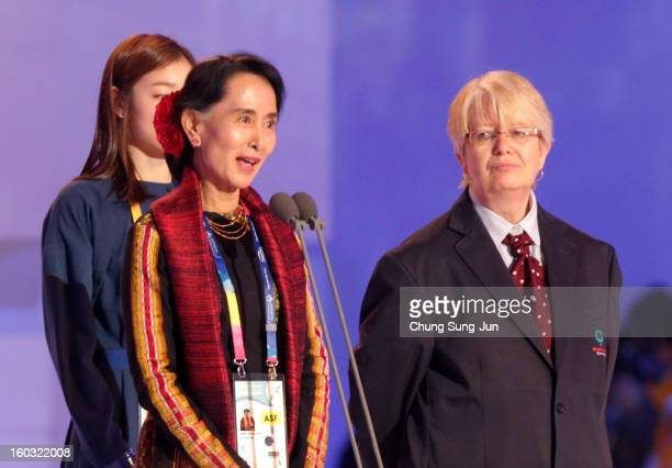 Prodemocracy leader Aung San Suu Kyi speaks during the Opening Ceremony of the 2013 Pyeongchang Special Olympics World Winter Games at the Yongpyeong...