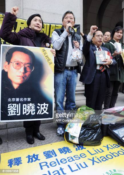 Prodemocracy legislators Emily Lau Lee Cheukyan and Albert Ho hold a press conference asking for the release of mainland jailed dissident Liu Xiaobo...