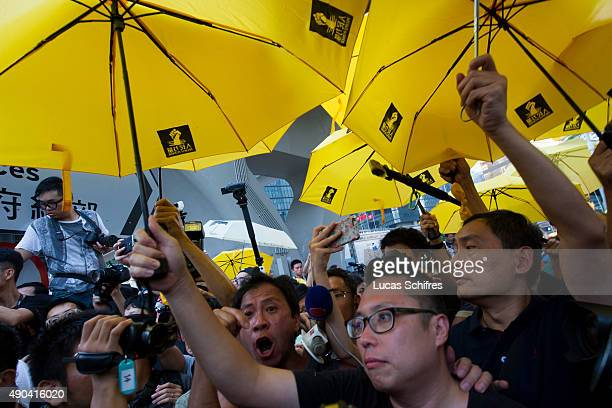 Prodemocracy protesters assemble outside government headquarters at Admiralty to mark the first anniversary of the Occupy Central movement on...