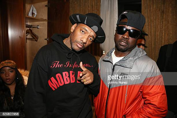 Prodigy and Havoc aka hip hop duo Mobb Deep backstage at Blue Note Jazz Club on April 12 in New York City