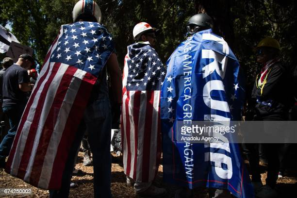 ProDonald Trump group holds a rally at Martin Luther King Jr Civic Center Park in Berkeley California on April 27 2017 The rally was held in protest...