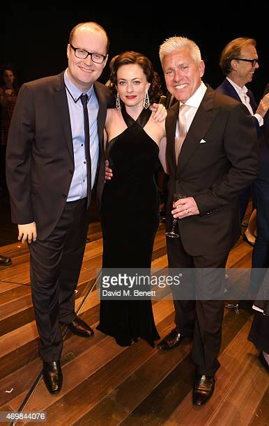 Producder Michael Harrison cast member Lara Pulver and producer David Ian attends a post show drinks reception on stage following the press night...