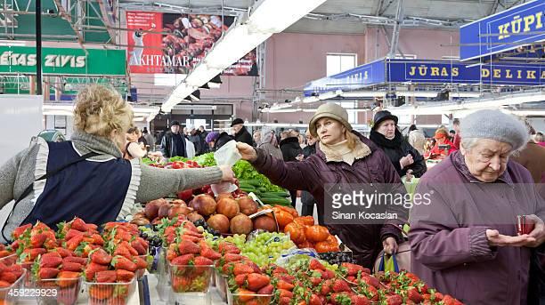 Produce section in Riga Central Market, Latvia