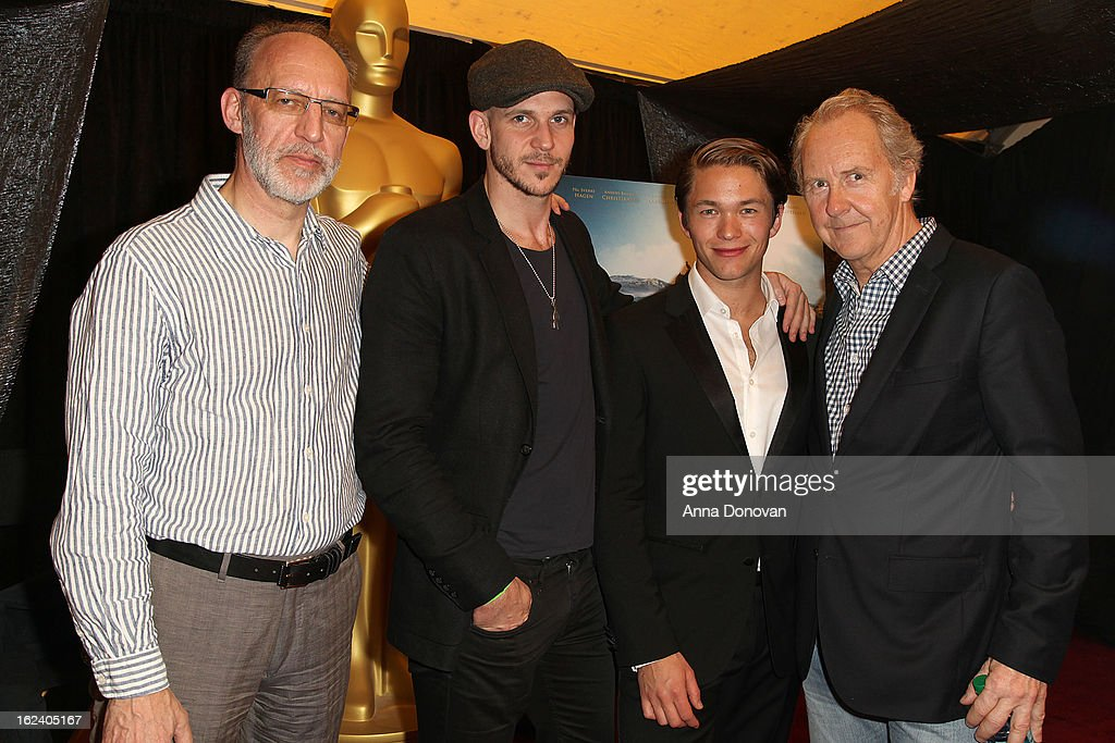 Producer Aage Aaberge, actor Gustaf Skarsgard, actor Jakob Oftebro and writer Petter Skavlan of the film 'Kon-Tiki,' attends the 85th annual Academy Awards Foreign Language Film Award photo-op held at the Dolby Theatre on February 22, 2013 in Hollywood, California.