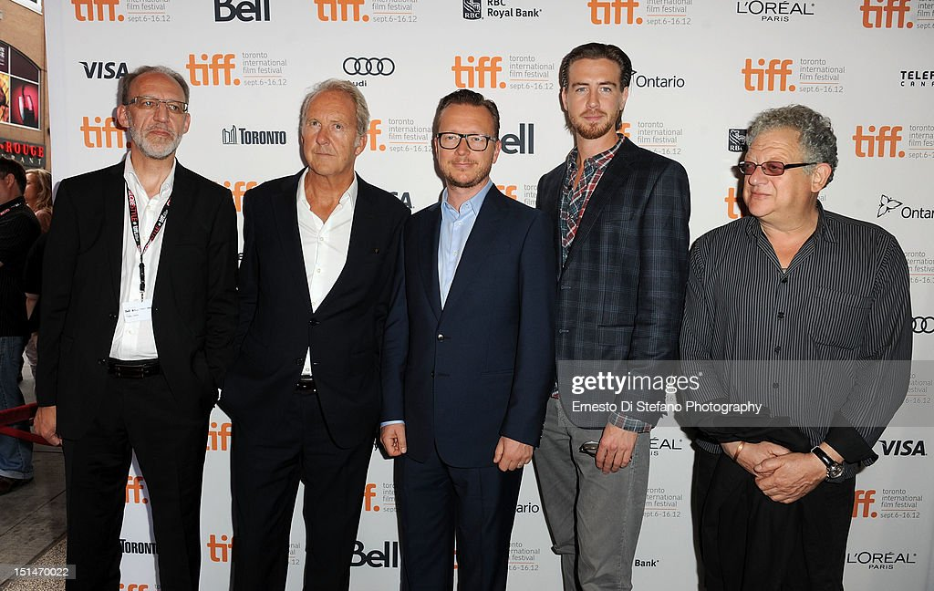 Producer Aage Aaberge, screenwriter Petter Skavlan, director Espen Sandberg, actor Pal Sverre Hagen and producer <a gi-track='captionPersonalityLinkClicked' href=/galleries/search?phrase=Jeremy+Thomas&family=editorial&specificpeople=629756 ng-click='$event.stopPropagation()'>Jeremy Thomas</a> attend the 'Kon-Tiki' premiere during the 2012 Toronto International Film Festival on September 7, 2012 in Toronto, Canada.