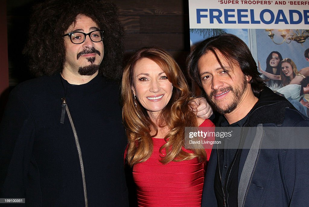 Producer <a gi-track='captionPersonalityLinkClicked' href=/galleries/search?phrase=Adam+Duritz&family=editorial&specificpeople=207121 ng-click='$event.stopPropagation()'>Adam Duritz</a> and actors Jane Seymour and <a gi-track='captionPersonalityLinkClicked' href=/galleries/search?phrase=Clifton+Collins+Jr.&family=editorial&specificpeople=540063 ng-click='$event.stopPropagation()'>Clifton Collins Jr.</a> attend the premiere of Salient Media's 'Freeloaders' at Sundance Cinema on January 7, 2013 in Los Angeles, California.