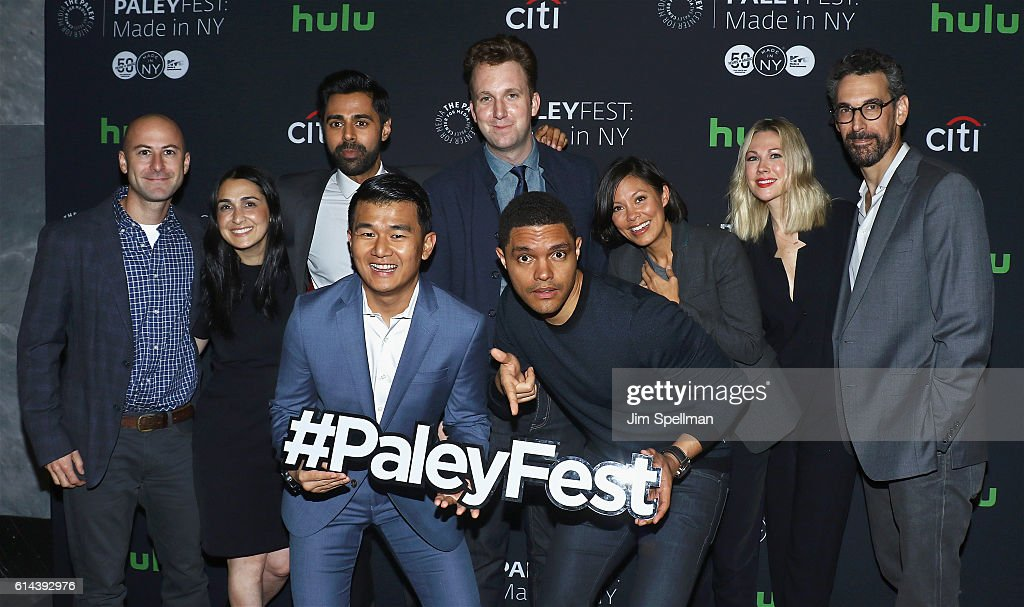 Producer Adam Lowitt, executive producer Jen Flanz, actors Hasan Minhaj, Ronny Chieng, comedian Jordan Klepper, comedian/host Trevor Noah, journalist Alex Wagner, actress Desi Lydic and executive producer Steve Bodow attend the PaleyFest New York 2016 'The Daily Show with Trevor Noah' at The Paley Center for Media on October 13, 2016 in New York City.