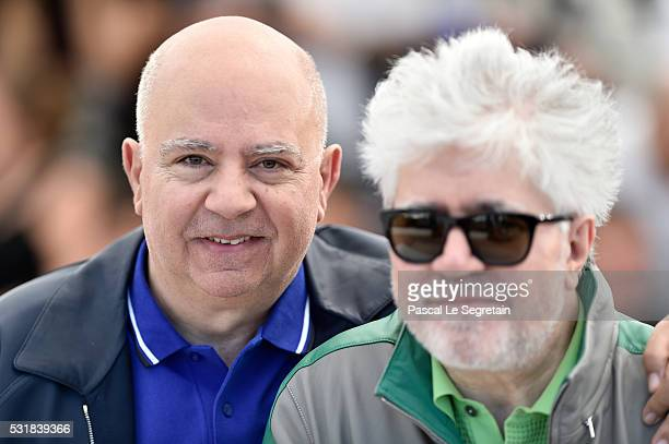 Producer Agustin Almodovar and director Pedro Almodovar attend the 'Julieta' photocall during the 69th annual Cannes Film Festival at the Palais des...