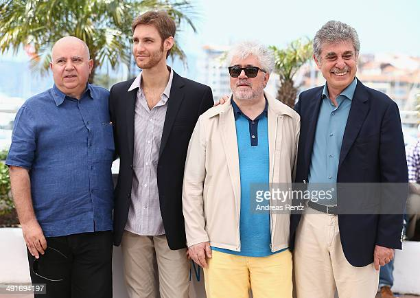 Producer Agustin Almodovar director Damian Szifron producers Pedro Almodovar and Hugo Sigman attend the 'Relatos Salvajes' photocall during the 67th...