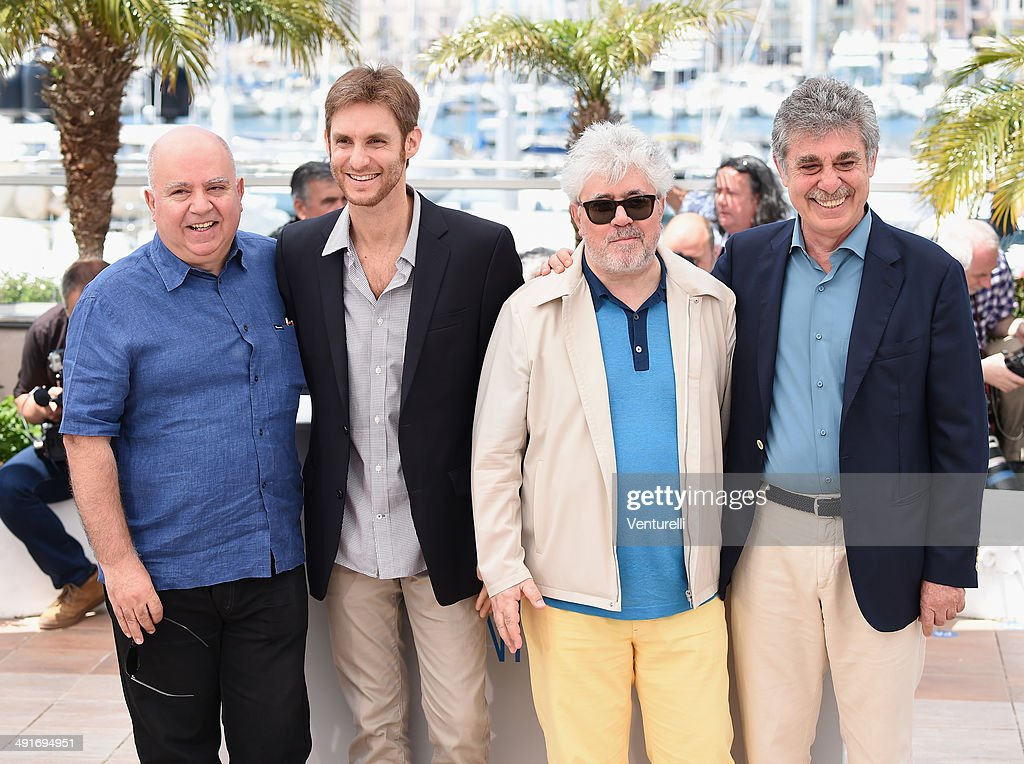 Producer Agustin Almodovar director Damian Szifron producers Pedro Almodovar and Hugo Sigman attend the 'Wild Tales' photocall at the 67th Annual...