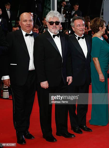 Producer Agustin Almodovar producer Pedro Almodovar and actor Oscar Martinez attend the Premiere of 'Savage Tales' at the 67th Annual Cannes Film...