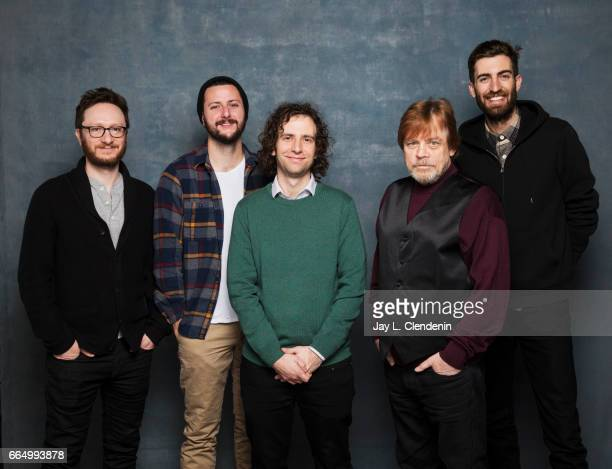 Producer Akiva Schaffer writer Kevin Costello actor Kyle Mooney actor Mark Hamil director Dave McCary from the film Brigsby Bear are photographed at...