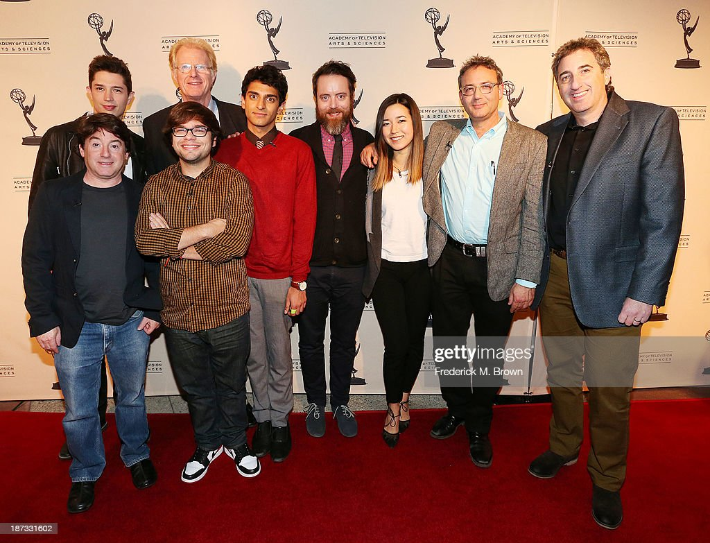 Producer Alan Cohen, actors Joel Dinicol, Charlie Saxton, Ed Begley, Jr., Karan Soni, Jonathan C. Daly and actress Maya Erkine, executive producer Michael Lehmann, and producer Alan Freedland attend The Television Academy Presents an Evening with Amazon Studios at the Leonard H. Goldenson Theatre on November 7, 2013 in North Hollywood, California.