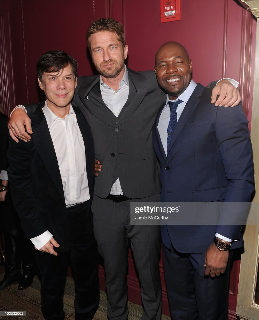 Producer Alan Siegel,Gerard Butler and director Antoine Fuqua attend the after party for The Cinema Society with Roger Dubuis and Grey Goose screening of FilmDistrict's 'Olympus Has Fallen' at The Darby on March 11, 2013 in New York City.