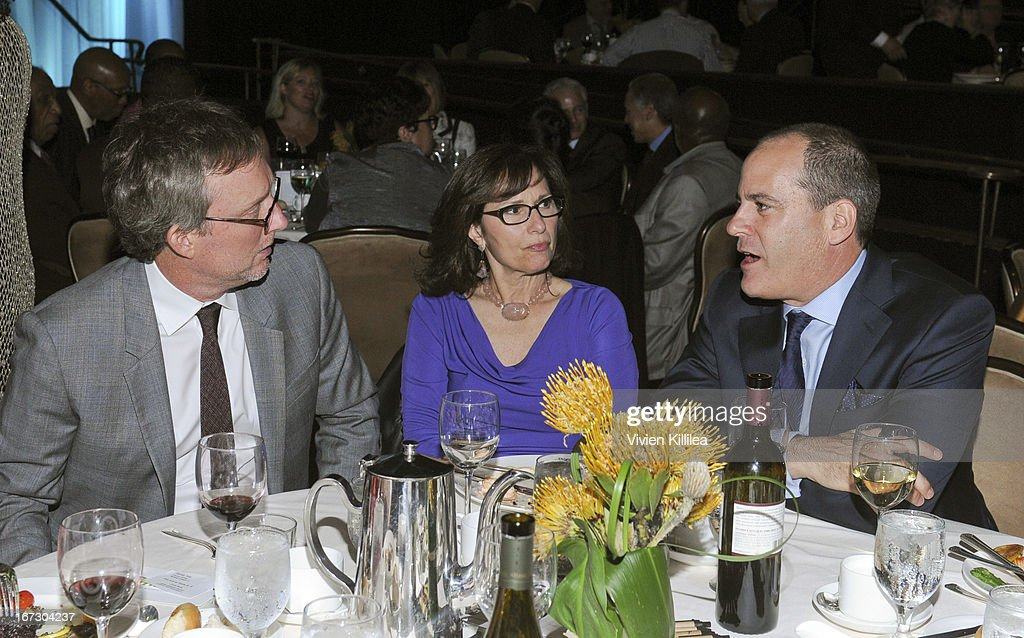 Producer Alex Gansa, his wife Lauren and Showtime Entertainment President David Nevins attend Liberty Hill's Upton Sinclair Awards Dinner Honors - Show at The Beverly Hilton Hotel on April 23, 2013 in Beverly Hills, California.
