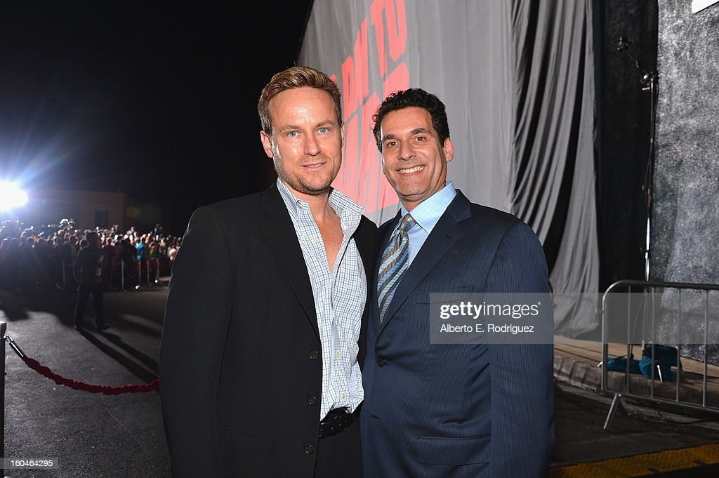 Producer Alex Young and Chief Marketing Officer for 20th Century Fox Oren Aviv attend the dedication and unveiling of a new soundstage mural celebrating 25 years of 'Die Hard' at Fox Studio Lot on January 31, 2013 in Century City, California.