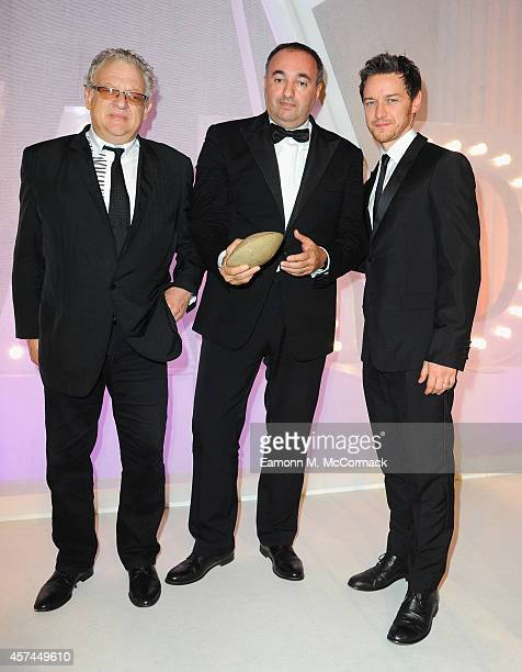 Producer Alexander Rodnyansky with the Best Film award with presenters Jeremy Thomas and James McAvoy at the BFI London Film Festival Awards during...
