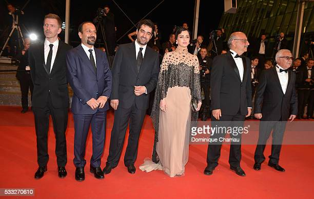 Producer Alexandre MalletGuy director Asghar Farhadi actor Shahab Hosseini actress Taraneh Alidoosti actor Babak Karimi and actor Farid...