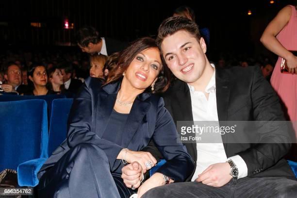 Producer Alice Brauner and her son David Brauner attend the Deutscher Hoerfilmpreis at Kino International on March 21 2017 in Berlin Germany