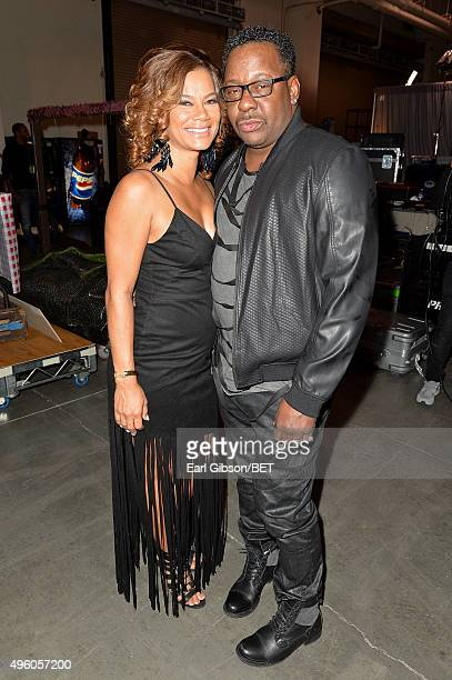 Producer Alicia Etheredge and recording artist Bobby Brown attend the 2015 Soul Train Music Awards at the Orleans Arena on November 6 2015 in Las...