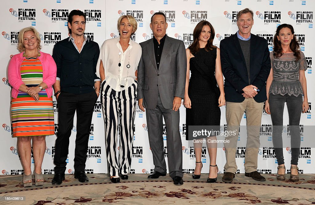 Producer Alison Owen, actors Colin Farrell, Emma Thompson, Tom Hanks, Ruth Wilson, director John Lee Hancock and screenwriter Kelly Marcel attend the photocall for 'Saving Mr Banks' during the 57th BFI London Film Festival at The Dorchester on October 20, 2013 in London, England.