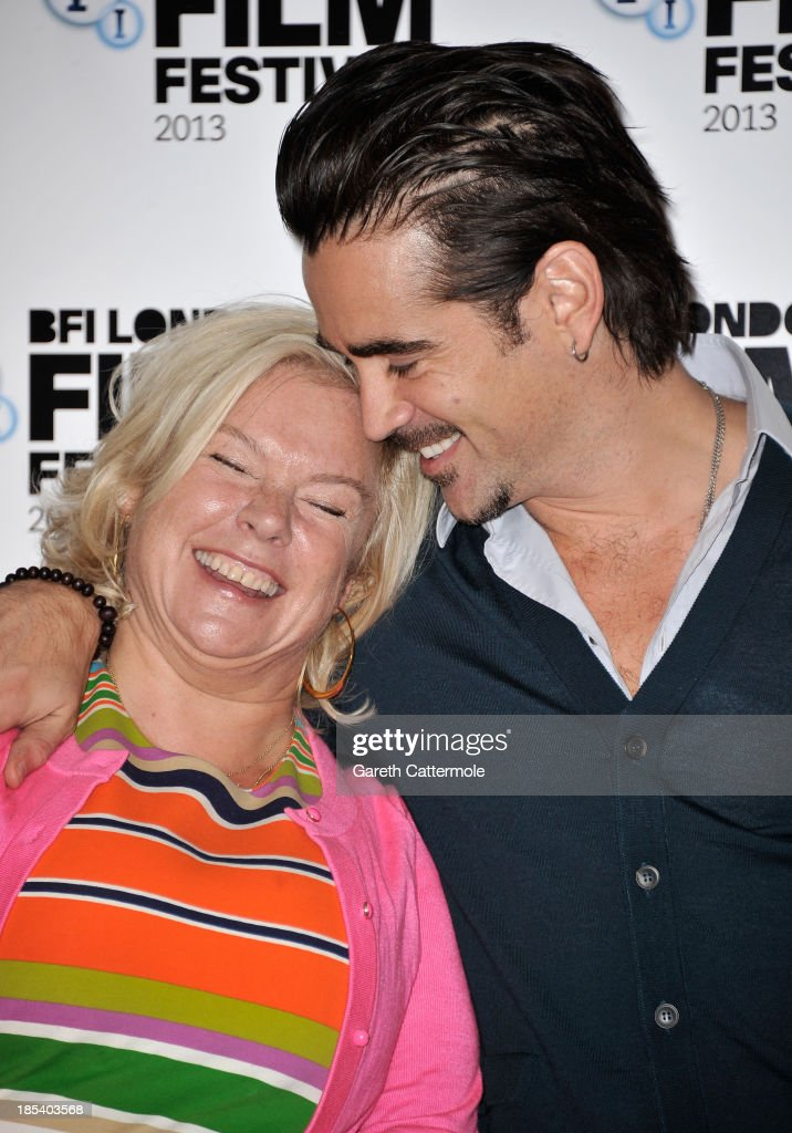 Producer Alison Owen and actor Colin Farrell attend the photocall for 'Saving Mr Banks' during the 57th BFI London Film Festival at The Dorchester on October 20, 2013 in London, England.