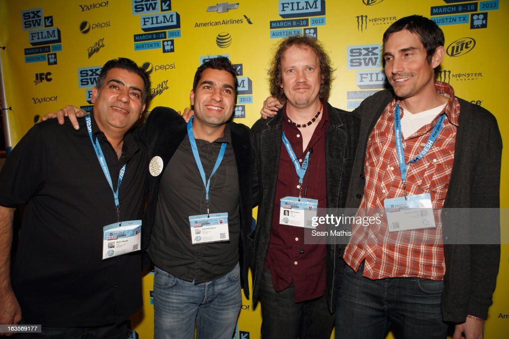 Producer Amir Delara, director Youssef Delara, cinematographer Ben Kufrin and director Victor Teran pose in the greenroom at the screening of 'Snap' during the 2013 SXSW Music, Film + Interactive Festival at Alamo Ritz on March 11, 2013 in Austin, Texas.