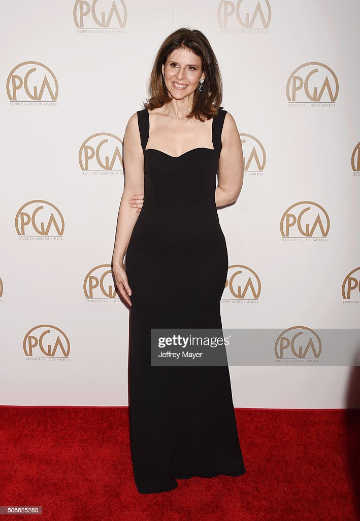 Producer Amy Ziering recipient of the Stanley Kramer Award arrives at the 27th Annual Producers Guild Awards at the Hyatt Regency Century Plaza on...