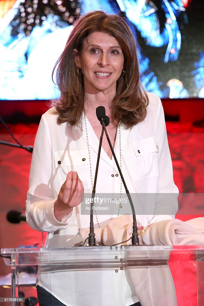 Producer Amy Ziering speaks on stage at the GUESS Foundation and Peace Over Violence Denim Day Cocktail Event at at MOCA Grand Avenue on March 22...