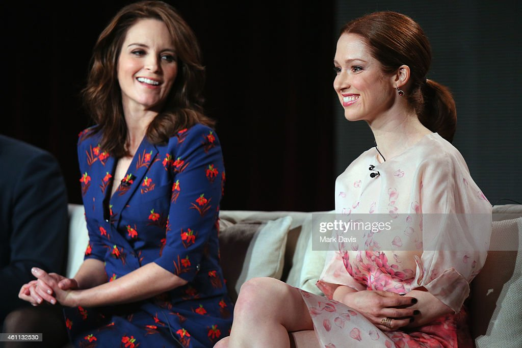 Producer and cowriter Tina Fey and Ellie Kemper speak about the 'The Unbreakable Kimmy Schmidt' during the Netflix TCA Press Tour at Langham Hotel on...