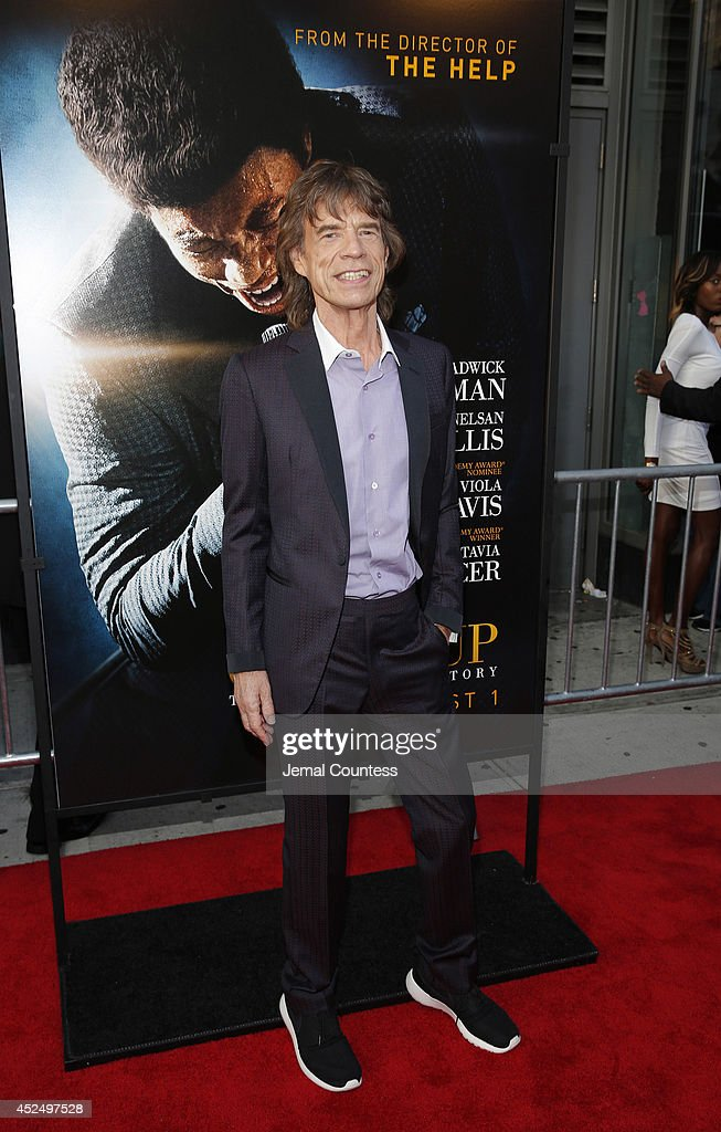 Producer and musician Mick Jagger attends the 'Get On Up' premiere at The Apollo Theater on July 21, 2014 in New York City.